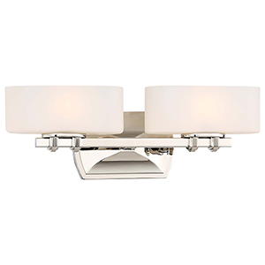 Drury Polished Nickel 18-Inch Two-Light Bath Light