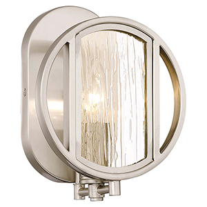 Via Capri Brushed Nickel 7-Inch One-Light Bath Light