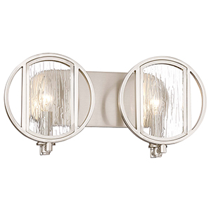 Via Capri Brushed Nickel 16-Inch Two-Light Bath Light