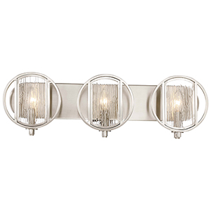 Via Capri Brushed Nickel 25-Inch Three-Light Bath Light