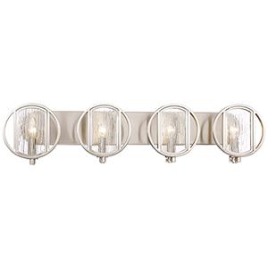 Via Capri Brushed Nickel 34-Inch Four-Light Bath Light