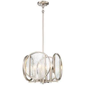 Via Capri Brushed Nickel 13-Inch Four-Light Pendant