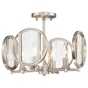 Via Capri Brushed Nickel 15-Inch Four-Light Flush Mount
