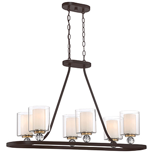 Studio 5 Painted Bronze 14-Inch Five-Light Island Pendant
