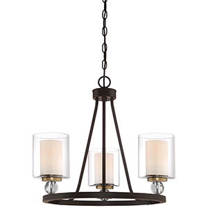 Studio 5 Painted Bronze 22-Inch Three-Light Chandelier