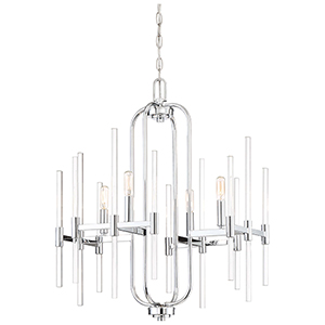 Pillar Chrome 22-Inch Four-Light Chandelier