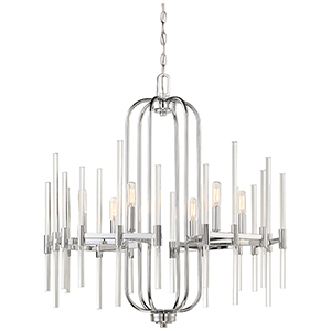 Pillar Chrome 26-Inch Six-Light Chandelier