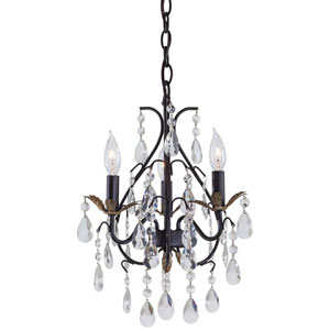 Castlewood Walnut Three-Light Mini Chandelier