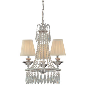 Three-Light Chrome Mini Chandelier with Cloth Shades