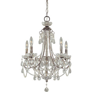 Distressed Silver Five-Light Mini Chandelier