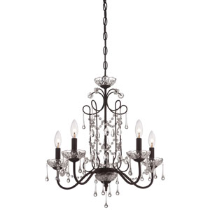 Aged Kinston Bronze Five Light Chandelier