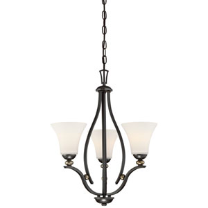 Shadowglen Lathan Bronze with Gold Highlight Three-Light Chandlier