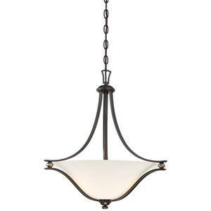 Shadowglen Lathan Bronze with Gold Highlight Three-Light Bowl Pendant