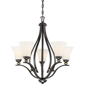 Shadowglen Lathan Bronze with Gold Highlight Five-Light Chandlier