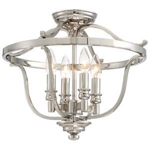 Audreys Point Polished Nickel Four-Light Semi-Flush Mount