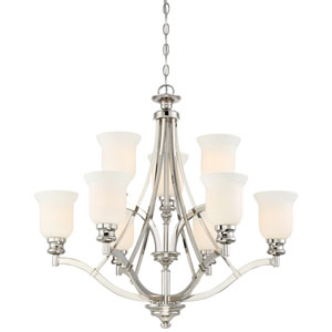 Audreys Point Polished Nickel Nine-Light Chandlier