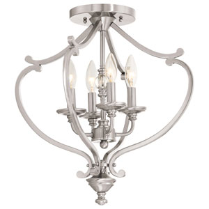 Savannah Row Brushed Nickel Four-Light Semi-Flush Mounts
