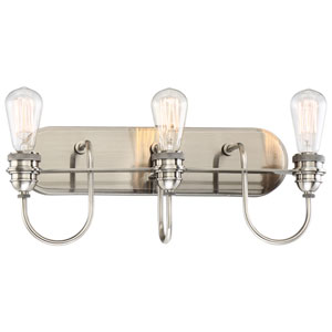 Uptown Edison Plated Pewter Three-Light Vanity
