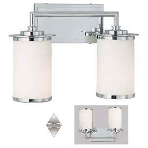 Glass Note Chrome Fluorescent Two-Light Bath Fixture