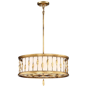 Olivetas Il Terrace Gold Leaf 20-Inch Three-Light Pendant