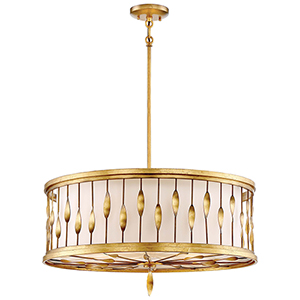 Olivetas Il Terrace Gold Leaf 26-Inch Five-Light Pendant