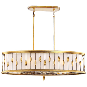 Olivetas Il Terrace Gold Leaf 14-Inch Six-Light Island Pendant