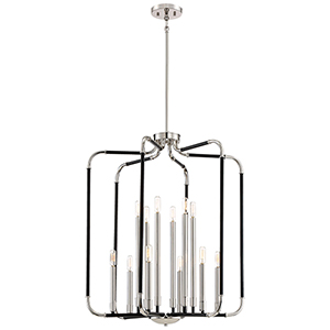Liege Matte Black 28-Inch Twelve-Light Pendant