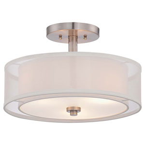 Parsons Studio Brushed Nickel 15-Inch Three-Light Semi Flush Mount