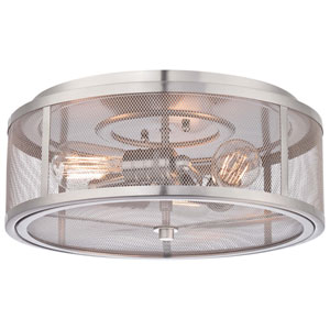 Downtown Edison Brushed Nickel Three-Light Flush Mount