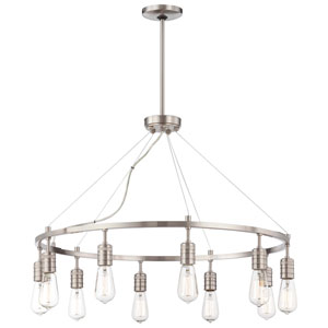 Downtown Edison Brushed Nickel 10 Light Chandelier