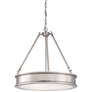 Harbour Point Brushed Nickel Three Light Pendant