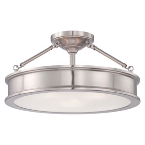 Harbour Point Brushed Nickel Three-Light Semi-Flush Mount