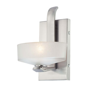 Eclante Brushed Nickel One-Light Wall Sconce with Dusty Iris Glass
