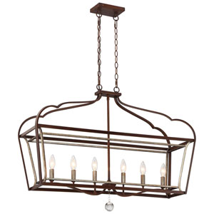Astrapia Dark Rubbed Sienna 11.5-Inch Six-Light Island Pendant
