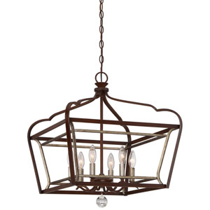 Astrapia Dark Rubbed Sienna 20-Inch Six-Light Pendant