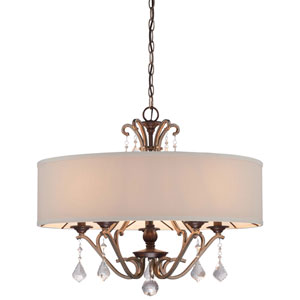Gwendolyn Place Dark Rubbed Sienna 26-Inch Five-Light Drum Pendant