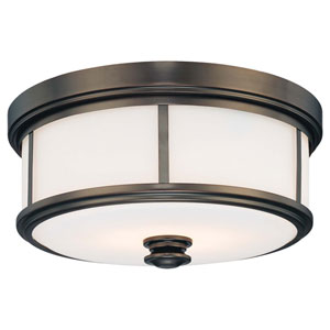 Harvard Court Bronze Two-Light Flush Mount