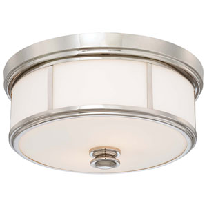 Polished Nickel Two-Light Flush Mount