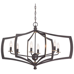 Middletown Downtown Bronze 34-Inch Six-Light Pendant