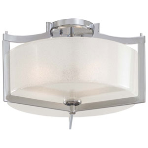 Clarte Chrome Three-Light Semi-Flush with White Iris Glass
