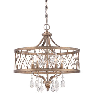 West Liberty Olympus Gold 20.5-Inch Five-Light Drum Pendant