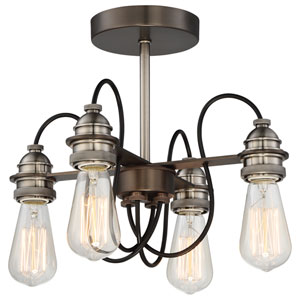 Uptown Edison Harvard Court Bronze with Pewter Four-Light Semi-Flush Mount