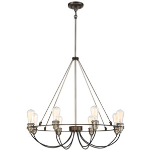Uptown Edison Harvard Court Bronze with Pewter Eight-Light Chandlier