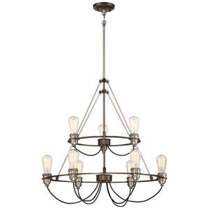 Uptown Edison Harvard Court Bronze with Pewter Nine-Light Chandlier