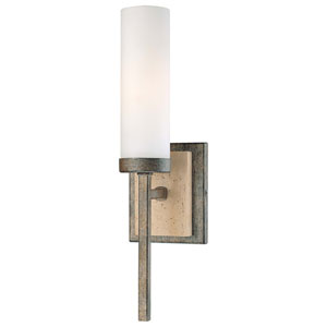 Compositions Aged Patina Iron with Travertine Stone One-Light Wall Sconce