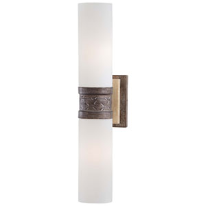 Compositions Aged patina Iron with Travertine Stone Two-Light Wall Sconce