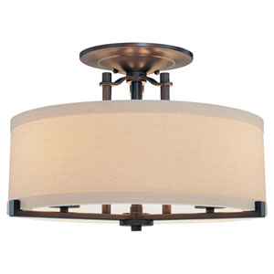 Ansmith Aged Kinston Bronze Three-Light Semi-Flush