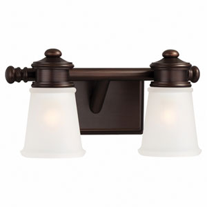 Two-Light Bath Light in Dark Brushed Bronze