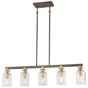 Morrow Harvard Court Bronze Five-Light Island Pendant