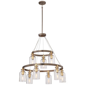 Morrow Harvard Court Bronze Nine-Light Chandelier